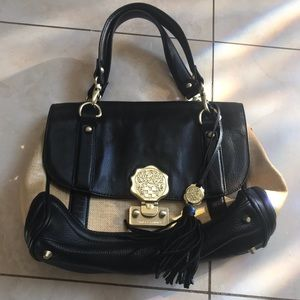Vince Camuto Black and Tan leather bag